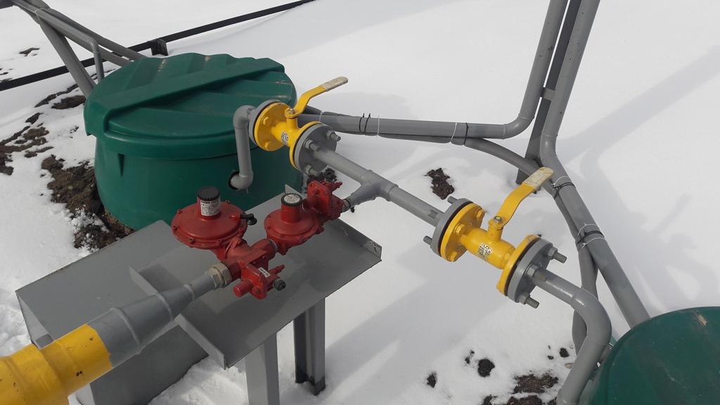 обвязка испарительной установки и газгольдером